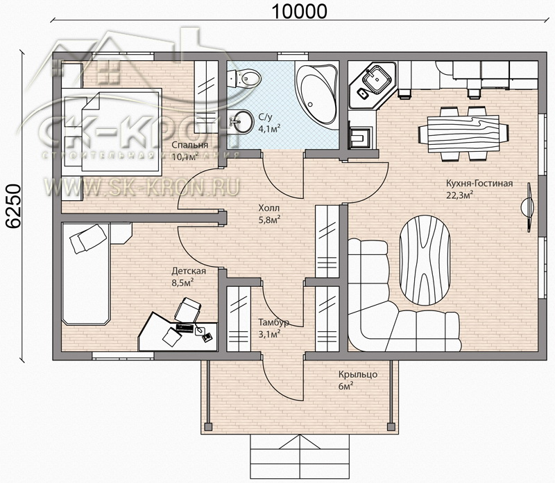 Проект дома на 69 кв.м. из СИП-панелей