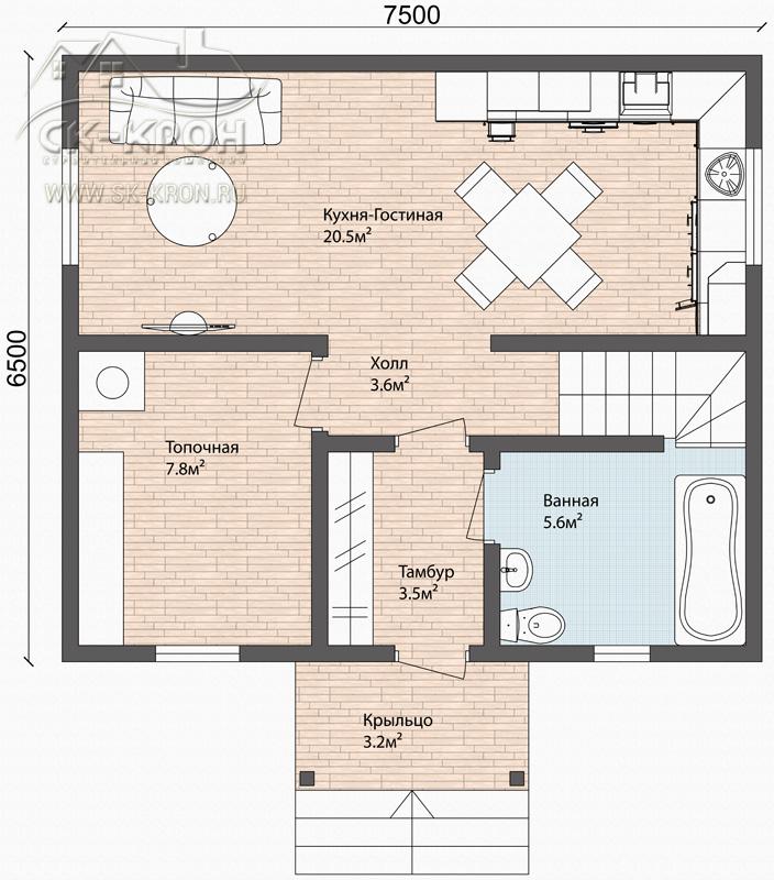 Проект каркасного двухэтажного дома