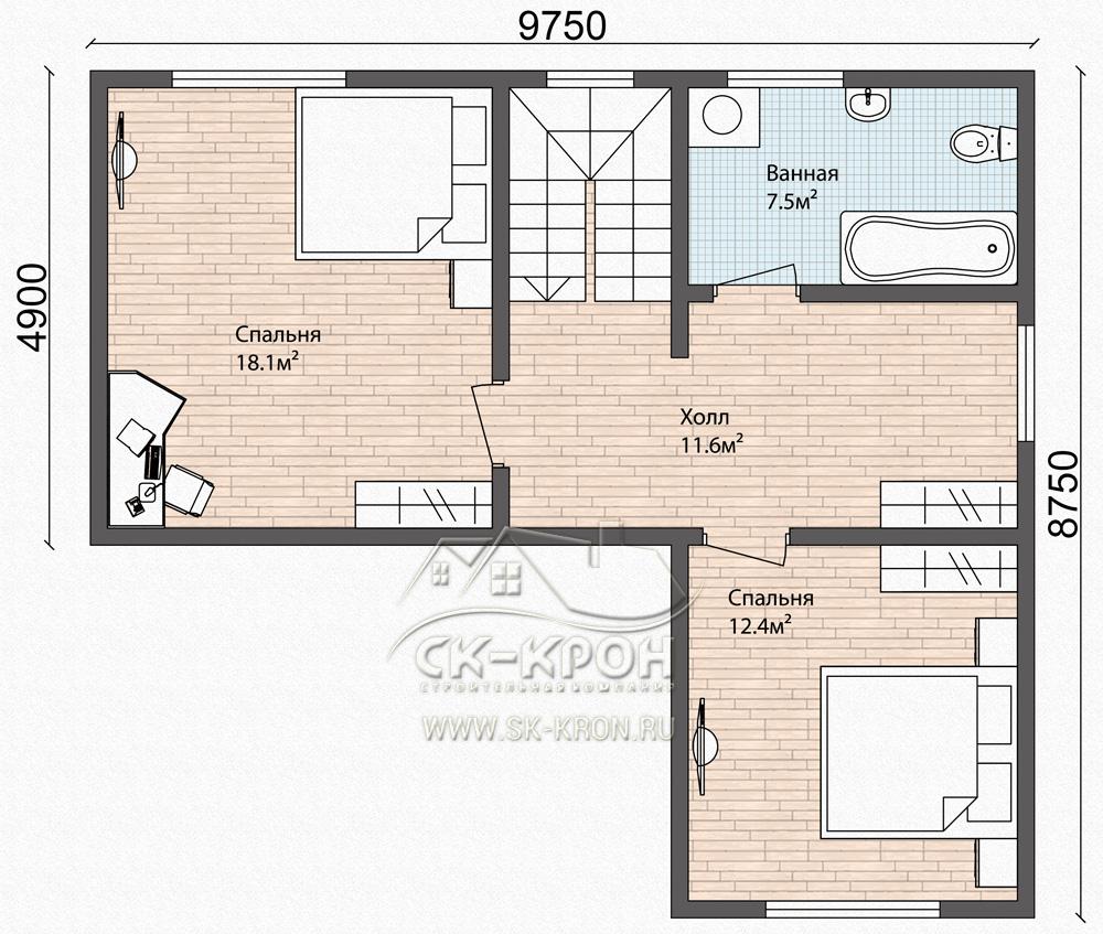 Проект каркасного дома - 2 этажа
