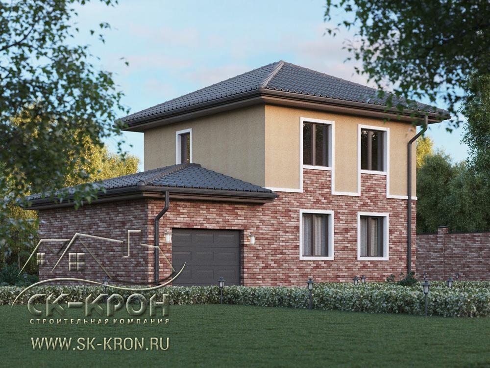 Проект дома 3D с пристроенным гаражом