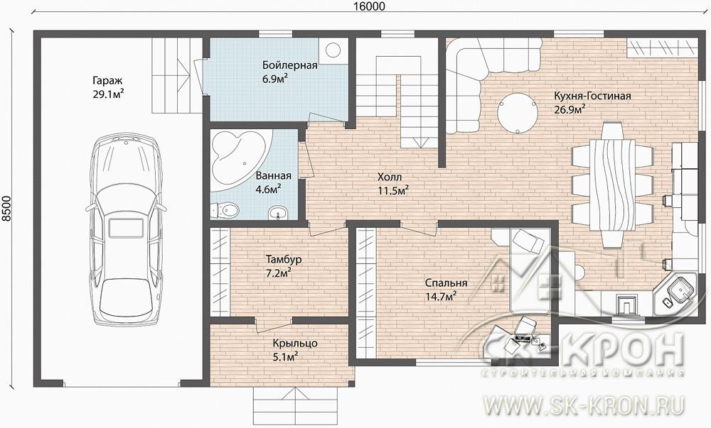 Планировка дома из SIP с гаражом