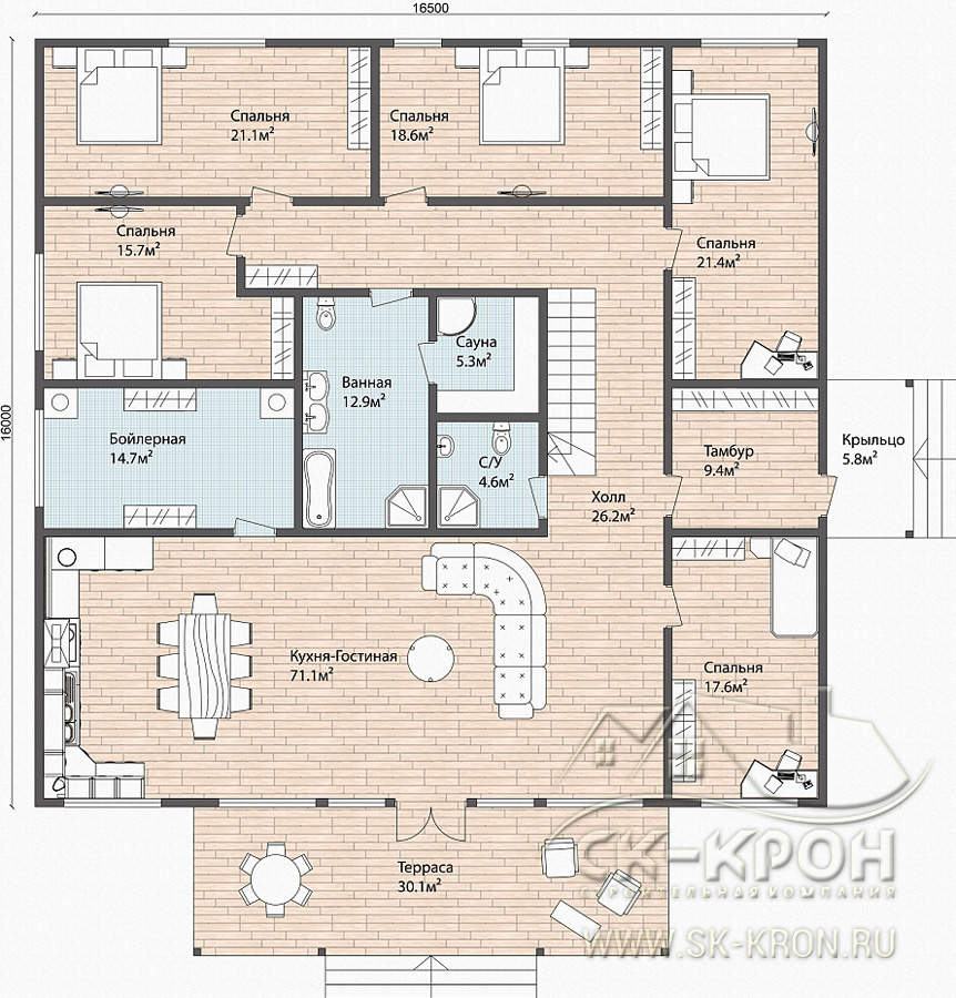Проект дома из СИП-панелей 450 м.кв.