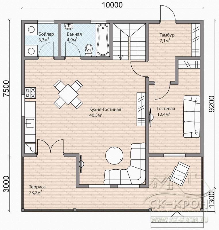 Проект каркасного дома 185 кв.м.