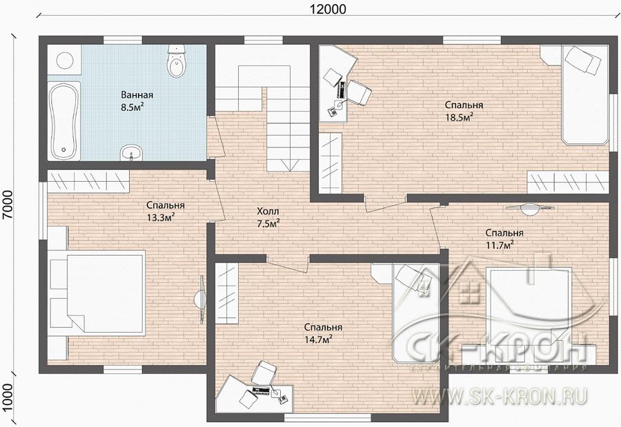 Второй этаж дома - планировка