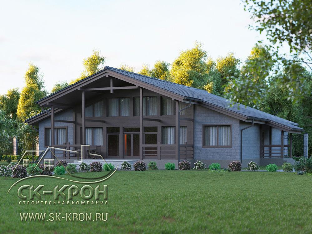 3D проект большого дома на 450 м.кв.